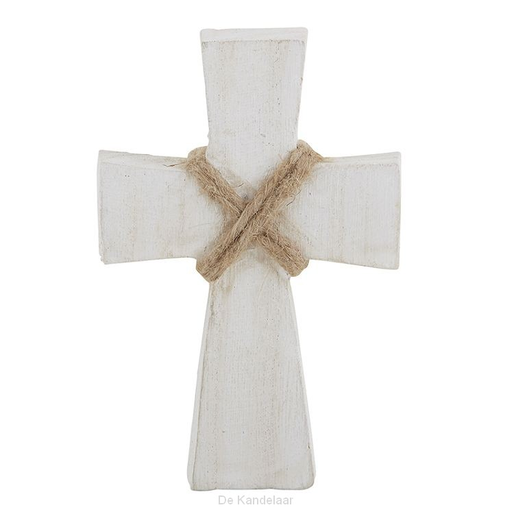 Small wood cross white wash