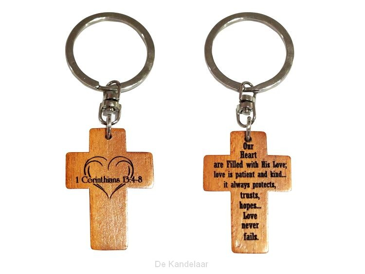 Keyring 2 sided cross cross 1 Cor 13
