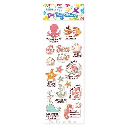 Puffy stickers sea life